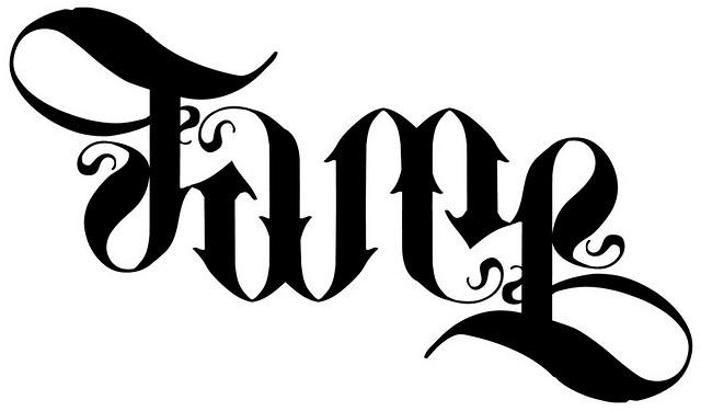 ambigram fame tat tattoo